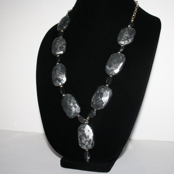 """Large silver and gray faux stone necklace 25"""""""